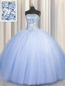 Pretty Big Puffy Blue Strapless Neckline Beading and Sequins 15th Birthday Dress Sleeveless Lace Up