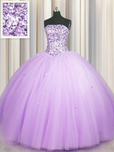 Really Puffy Lavender Strapless Lace Up Beading and Sequins Vestidos de Quinceanera Sleeveless