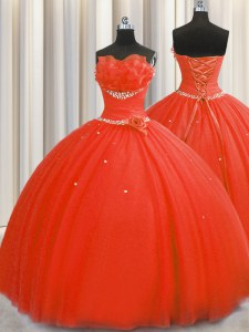 Handcrafted Flower Floor Length Coral Red Quinceanera Dress Tulle Sleeveless Beading and Sequins and Hand Made Flower