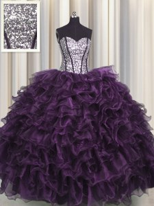 Classical Sequins Visible Boning Dark Purple Sleeveless Organza and Sequined Lace Up Sweet 16 Quinceanera Dress for Military Ball and Sweet 16 and Quinceanera