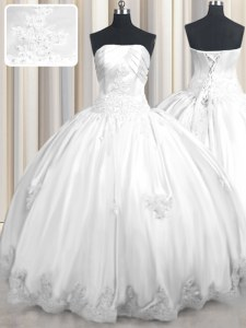 Customized Floor Length White Quince Ball Gowns Taffeta Sleeveless Beading and Appliques