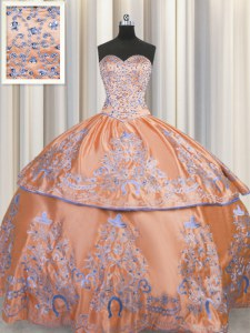 Orange Ball Gowns Beading and Embroidery Quinceanera Dresses Lace Up Taffeta Sleeveless Floor Length