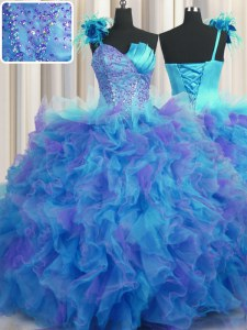 Handcrafted Flower One Shoulder Sleeveless Tulle Quinceanera Gown Beading and Ruffles and Hand Made Flower Lace Up
