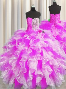 Fantastic Sleeveless Beading and Ruffles and Ruching Lace Up Quinceanera Gown