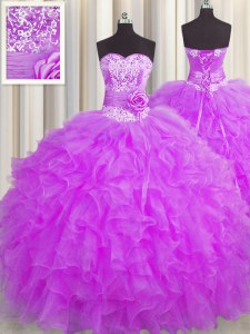 Handcrafted Flower Purple Ball Gowns Organza Sweetheart Sleeveless Beading and Ruffles and Hand Made Flower Floor Length Lace Up Quince Ball Gowns