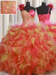 One Shoulder Handcrafted Flower Multi-color Tulle Lace Up Quinceanera Gown Sleeveless Floor Length Beading and Ruffles and Hand Made Flower