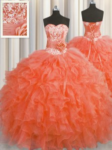 Handcrafted Flower Red Ball Gowns Beading and Ruffles and Hand Made Flower 15th Birthday Dress Lace Up Organza Sleeveless Floor Length