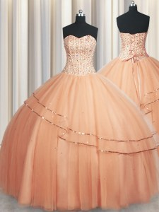 Visible Boning Really Puffy Floor Length Lace Up Quinceanera Dress Peach for Military Ball and Sweet 16 and Quinceanera with Beading and Ruching