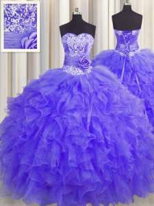Exquisite Handcrafted Flower Ball Gowns Ball Gown Prom Dress Lavender Sweetheart Organza Sleeveless Floor Length Lace Up