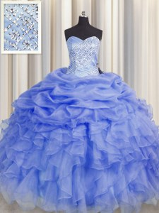 Purple Ball Gowns Sweetheart Sleeveless Organza Floor Length Lace Up Beading and Ruffles Quinceanera Gown
