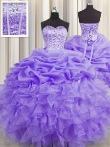 Visible Boning Lavender Lace Up Sweetheart Beading and Ruffles and Pick Ups Quinceanera Dress Organza Sleeveless