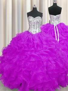 Gorgeous Purple Sleeveless Floor Length Beading and Ruffles Lace Up Sweet 16 Dress