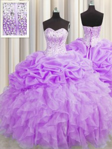 Stylish Visible Boning Purple Sleeveless Beading and Ruffles and Pick Ups Floor Length Vestidos de Quinceanera