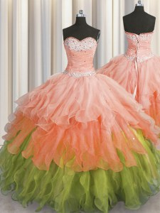 Adorable Sequins Ruffled Sweetheart Sleeveless Lace Up Quinceanera Gown Multi-color Organza
