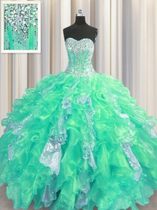 Turquoise Organza and Sequined Lace Up Sweetheart Sleeveless Floor Length Quinceanera Gowns Beading and Ruffles and Sequins