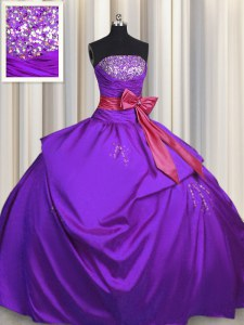 Purple Sleeveless Beading and Bowknot Floor Length Ball Gown Prom Dress