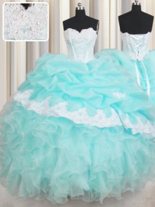 High Class Baby Blue Sleeveless Beading and Appliques and Ruffled Layers Floor Length Sweet 16 Dresses