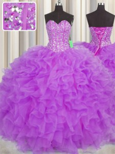 Edgy Visible Boning Purple Sweetheart Lace Up Beading and Ruffles and Sashes ribbons Quinceanera Gown Sleeveless