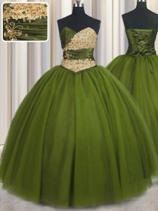 Olive Green 15th Birthday Dress Military Ball and Sweet 16 and Quinceanera and For with Beading and Ruching and Belt Sweetheart Sleeveless Lace Up