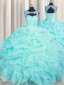 Scoop Organza Sleeveless Floor Length Quinceanera Dresses and Beading and Pick Ups