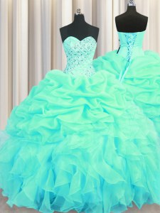 Shining Turquoise Organza Lace Up Sweetheart Sleeveless Floor Length Sweet 16 Dress Beading and Ruffles and Pick Ups
