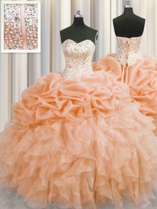 Visible Boning Orange Ball Gowns Sweetheart Sleeveless Organza Floor Length Lace Up Beading and Ruffles Sweet 16 Quinceanera Dress