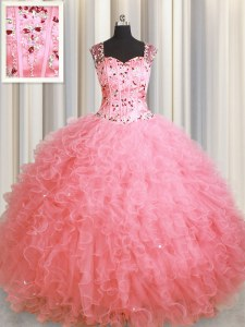 See Through Zipper Up Sleeveless Beading and Ruffles Zipper Quinceanera Gowns