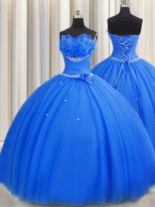Exquisite Handcrafted Flower Blue Lace Up Quinceanera Gowns Beading and Sequins and Hand Made Flower Sleeveless Floor Length
