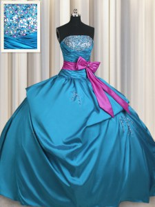 Teal Taffeta Lace Up Strapless Sleeveless Floor Length Ball Gown Prom Dress Beading and Ruching and Bowknot