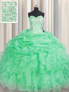 Trendy Apple Green Sleeveless Floor Length Beading and Ruffles Lace Up Ball Gown Prom Dress