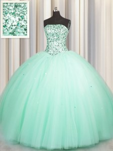 Comfortable Puffy Skirt Apple Green Sleeveless Floor Length Beading and Sequins Lace Up 15 Quinceanera Dress