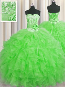 Noble Handcrafted Flower Floor Length Green 15 Quinceanera Dress Sweetheart Sleeveless Lace Up