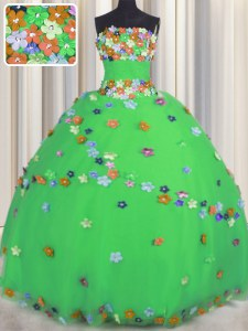 Green Sleeveless Tulle Lace Up Sweet 16 Quinceanera Dress for Military Ball and Sweet 16 and Quinceanera