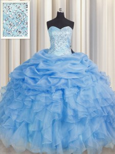 Baby Blue Sweetheart Neckline Beading and Ruffles 15th Birthday Dress Sleeveless Lace Up