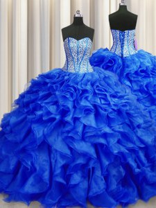 Visible Boning Sleeveless Organza Brush Train Lace Up Quinceanera Gowns in Royal Blue with Beading and Ruffles