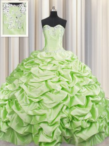 Cheap Pick Ups Brush Train Yellow Green Sleeveless Taffeta Sweep Train Lace Up Quinceanera Dresses for Military Ball and Sweet 16 and Quinceanera