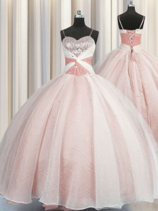 Spaghetti Straps Pink Sleeveless Beading Floor Length Quinceanera Gown