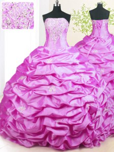 Inexpensive Lilac Taffeta Lace Up Quinceanera Gown Sleeveless With Train Sweep Train Beading and Pick Ups