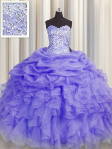Designer Lavender Organza Lace Up Sweetheart Sleeveless Floor Length Quinceanera Dresses Beading and Ruffles