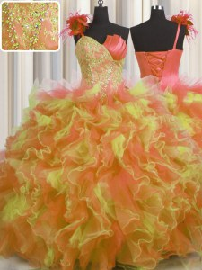 Pretty Handcrafted Flower Multi-color Quinceanera Dress Military Ball and Sweet 16 and Quinceanera and For with Beading and Ruffles and Hand Made Flower One Shoulder Sleeveless Lace Up