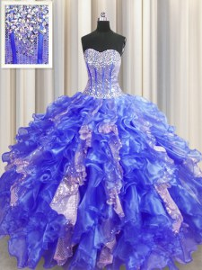 Noble Visible Boning Organza and Sequined Sweetheart Sleeveless Lace Up Beading and Ruffles and Sequins Sweet 16 Dress in Royal Blue