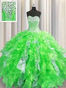 Colorful Visible Boning Ball Gowns Organza and Sequined Sweetheart Sleeveless Beading and Ruffles and Sequins Floor Length Lace Up 15 Quinceanera Dress