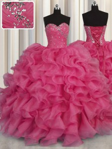 Dazzling Beading and Ruffles 15 Quinceanera Dress Hot Pink Lace Up Sleeveless Floor Length