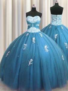Exquisite Teal Column/Sheath Tulle Sweetheart Sleeveless Beading and Appliques Floor Length Lace Up Sweet 16 Quinceanera Dress