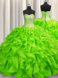 Visible Boning Organza Sweetheart Sleeveless Lace Up Beading and Ruffles Sweet 16 Quinceanera Dress in