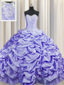 High Class Brush Train Sleeveless Beading and Pick Ups Lace Up Quince Ball Gowns with Lavender Sweep Train