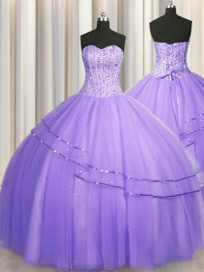Visible Boning Big Puffy Lavender Sleeveless Floor Length Beading Lace Up Quinceanera Gowns