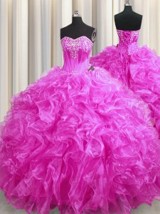 Trendy Fuchsia Sleeveless Beading and Ruffles Lace Up Quinceanera Gowns