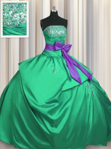Pretty Pick Ups Bowknot Strapless Sleeveless Lace Up 15 Quinceanera Dress Green Satin