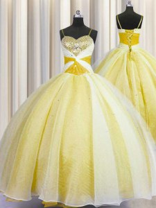Super Spaghetti Straps Sleeveless Beading and Ruching Lace Up Quince Ball Gowns
